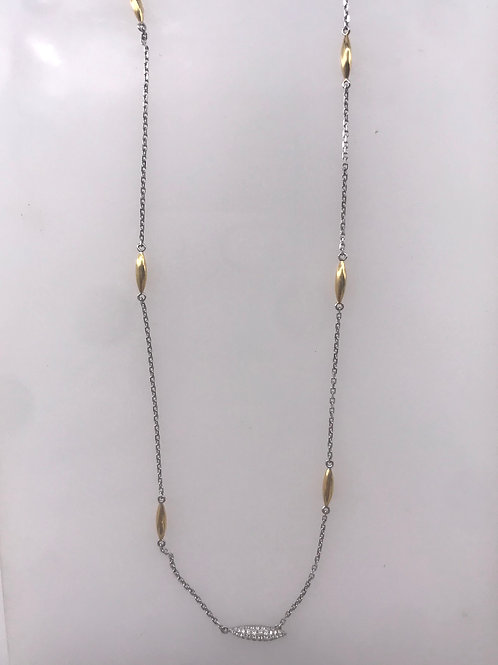 Two Tone Pave Diamond Drop Necklace