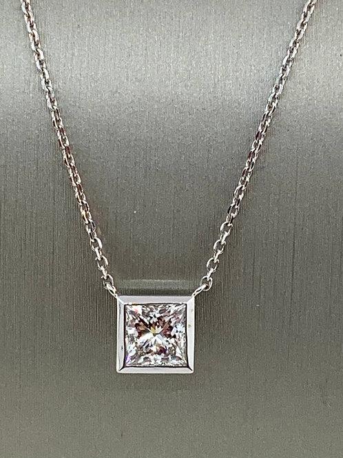 Princess cut diamond necklace