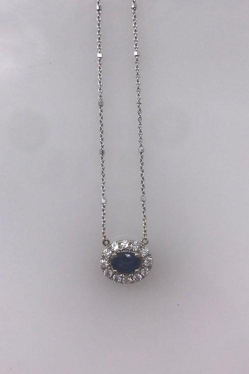 Semi Oval White Gold Diamond Pendant with Genuine Blue Sapphire