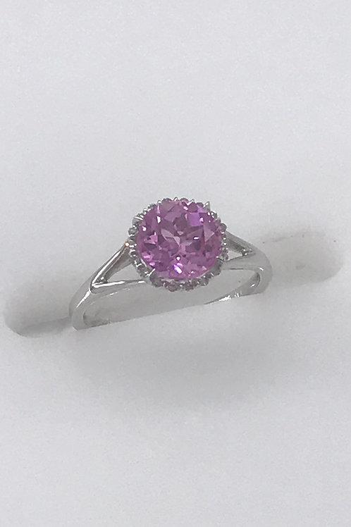 Round Pink Corundum Diamond Ring