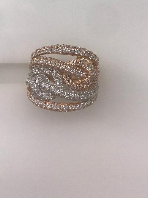 Two Tone Pave Diamond 5 Row Twist Ring