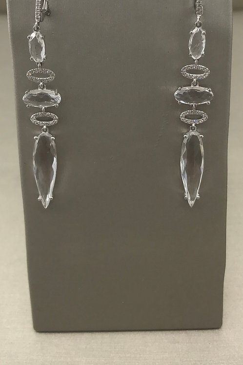 White Topaz Diamond Drop Earring