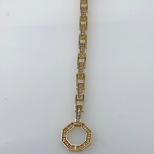 "7"" Yellow Gold Diamond Link Bracelet"