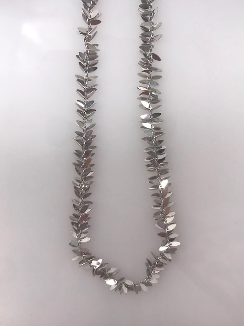 "White Gold 17"" Tiny Multi Leaf Necklace"