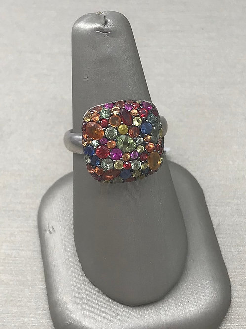 Cushion Top Multi Sapphire Sterling Silver Ring
