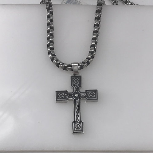 Large Stainless Steel Cross with Diamond Center and Black Scroll