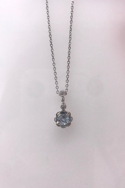 White Gold Semi Pendant Mounting Diamond Circle with Genuine Aquamarine Center