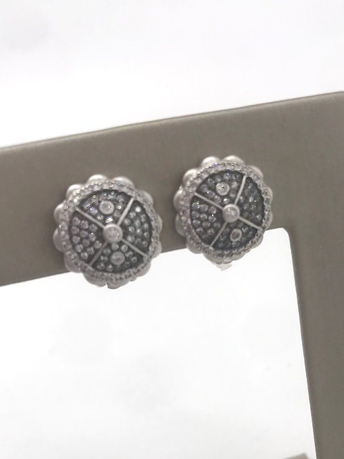 Freida Rothman Sterling Silver Pave Button Clip Earring