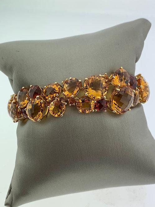 Yellow Gold Citrine Oval Bracelet