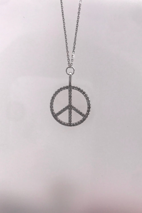 White Gold Diamond Peace Sign Pendant