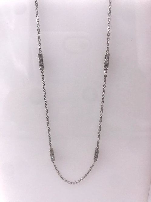 White Gold Princess Cut Diamond Station Necklace