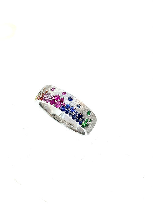 Rainbow confetti ring