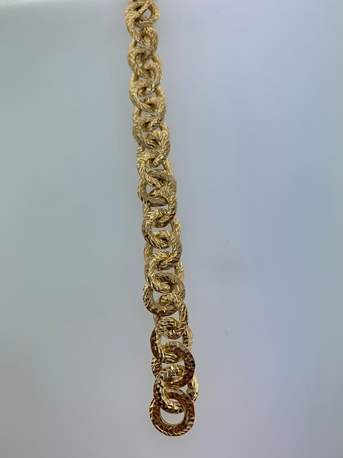 "7"" D.C. Yellow Gold Circle Link Bracelet"