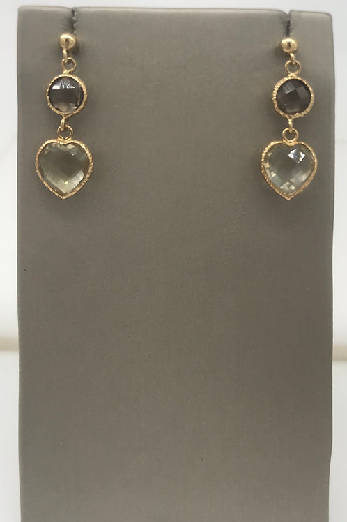 Yellow Gold Lemon Quartz Heart Dangle Earring