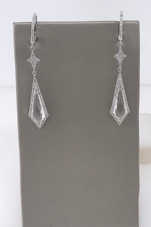 White Topaz Kite Drop Earrings
