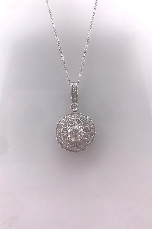 White Gold Filigree Circle Diamond Semi Pendant