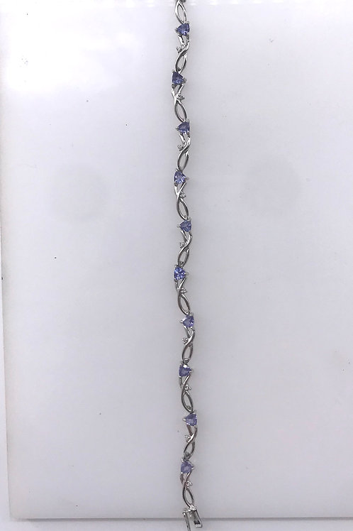 "7"" White Gold Diamond Tanzanite Bracelet"