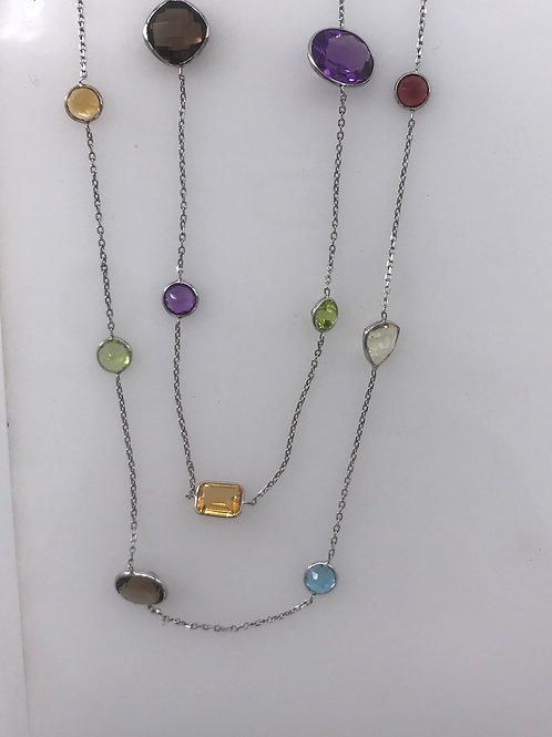 "36"" White Gold Multi Color Necklace"