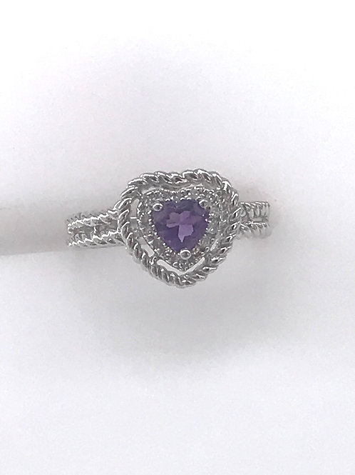 Amethyst Diamond Heart Ring