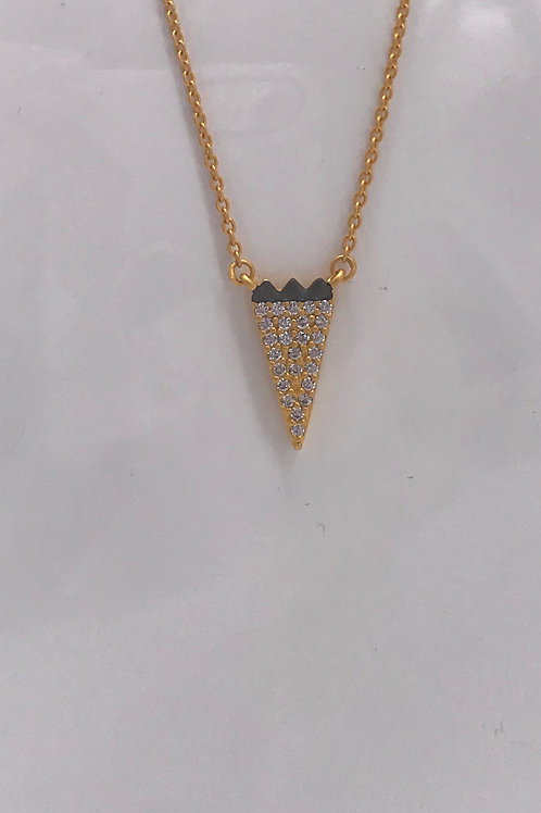 Freida Rothman Sterling Silver Yellow Pave CZ Arrow Necklace