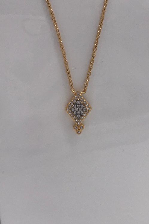 Freida Rothman Sterling Silver Yellow Pave Harlequin Drop Pendant