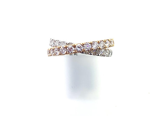 Two tone cross over ring