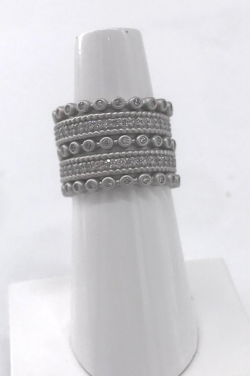 Freida Rothman Sterling Silver 5 Stack Thin White Rings