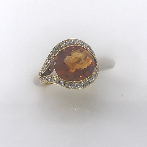 Yellow Gold Large Citrine Diamond Ring