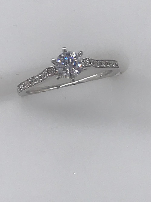 Bead Set 1 Diamond Thin Engagement Ring