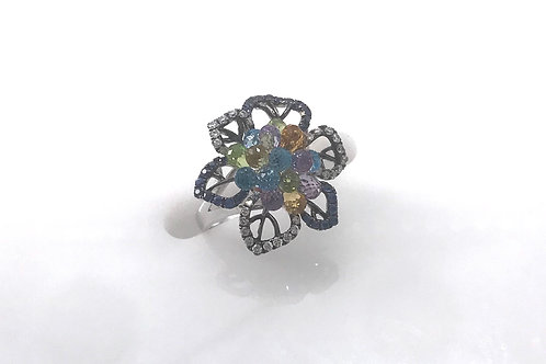 Multi Color White Gold Flower Ring