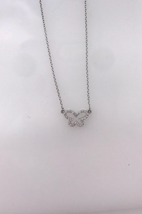 White Gold Open Diamond Butterfly on Chain