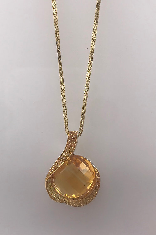 Citrine Yellow Sapphire White Gold Pendant