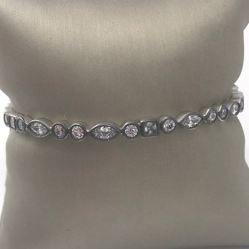 Freida Rothman Sterling Silver Square and Marquise Hinged Bracelet
