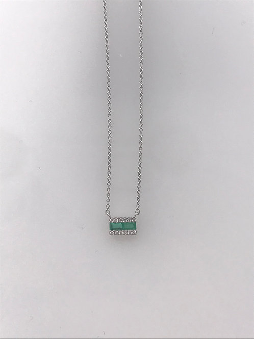 Small Emerald and Diamond White Gold Bar Necklace