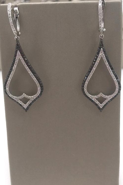 Black and White Diamond Dangle Earring