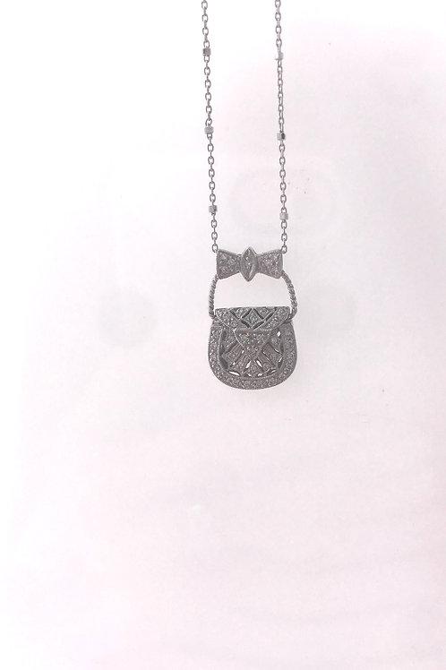 White Gold Filigree Diamond Purse Pendant
