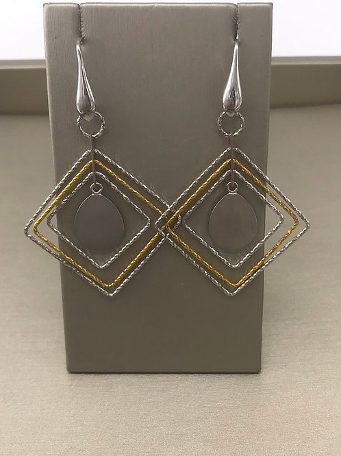 Sterling Silver 18 Karat Plated Multi Square Dangle Earring
