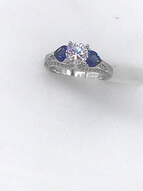 Platinum Semi Mount Heart Sapphire Diamond Ring