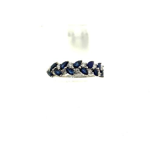 Sapphire braided ring