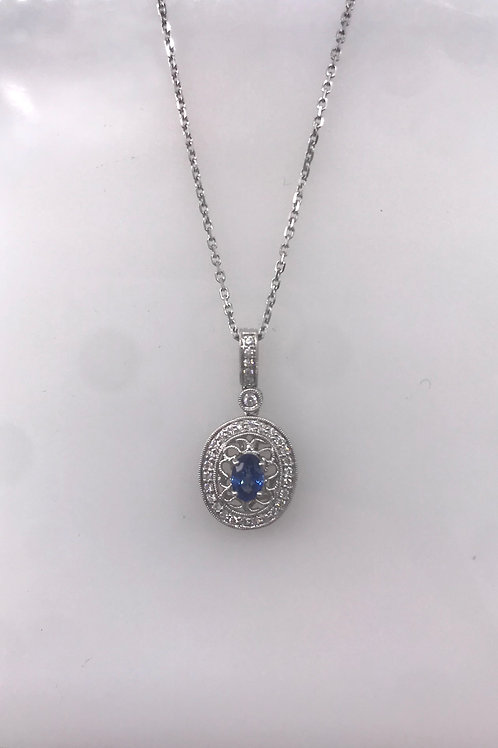 White Gold Oval Filled Diamond Remount with Oval Genuine Sapphire