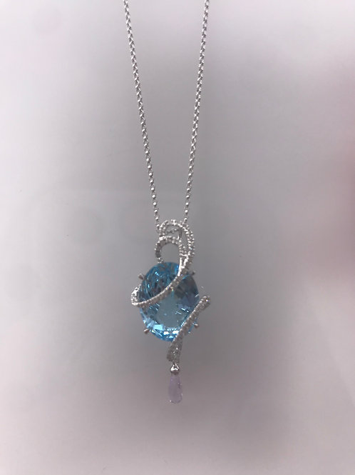 Blue Topaz 3 Briolette Diamond Pendant