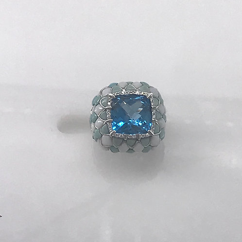 Large Blue Topaz and Agate Diamond Ring