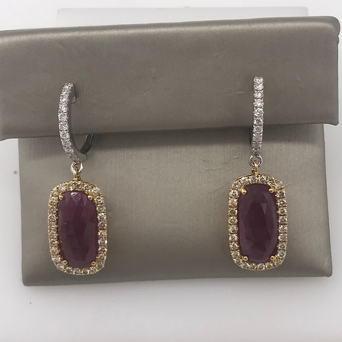 Two Tone Diamond Ruby Dangle Earring