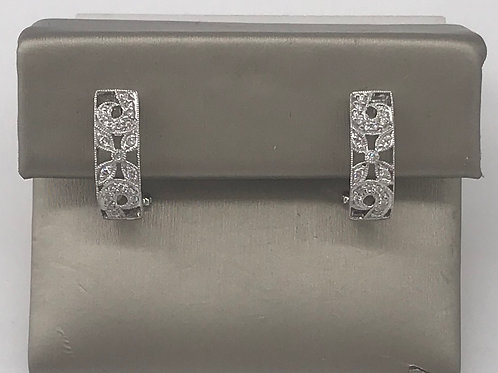 1/2 Hoop Diamond Euro Filigree Earring