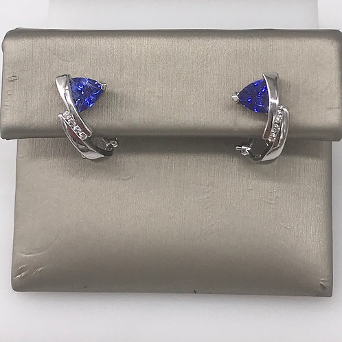 Tri Tanzanite Diamond Earring with Euro Back