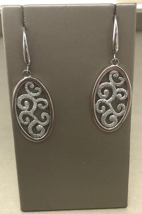 Sterling Silver Scroll Oval Dangle Wire Earring