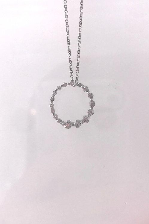 White Gold Journey Circle Diamond Necklace