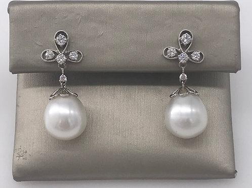 Pearl Drop and Diamond Earring