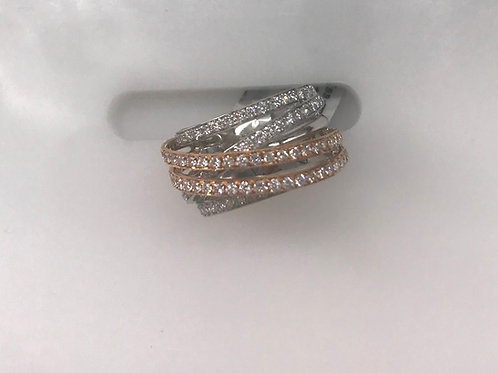 White and Rose Gold Criss Cross Ring
