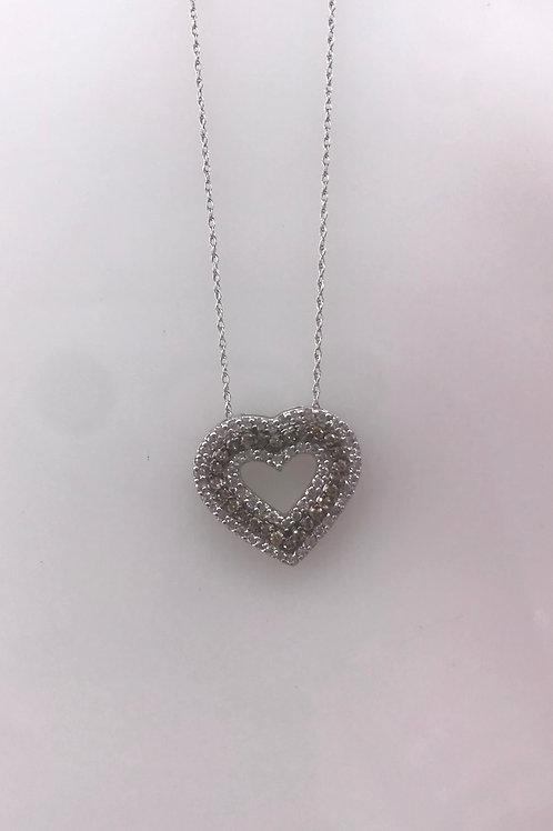 Brown Open Heart Diamond Necklace